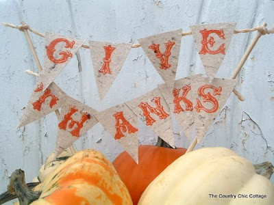Thanksgiving Centerpiece Banner - DIY Pennant Banners can be made for any holiday or occasion. They look great hanging on a mantel as part of your home decor or on the wall for a party decoration. They are easy to make to fit any theme or budget. They are particular popular for birthday parties, and bridal showers,