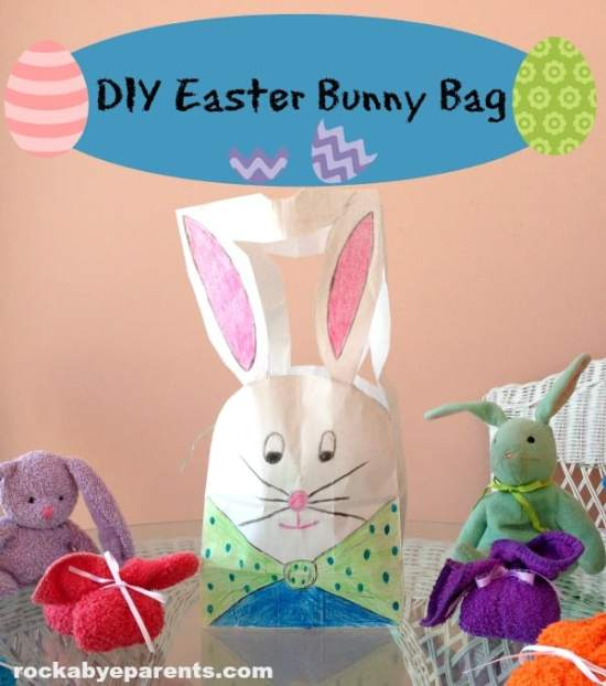 Easter Bunny Bag - Easter Paper Crafts are so fun and easy to make. Here's a variety of cards, printables, and home decor to keep you and the kids busy.