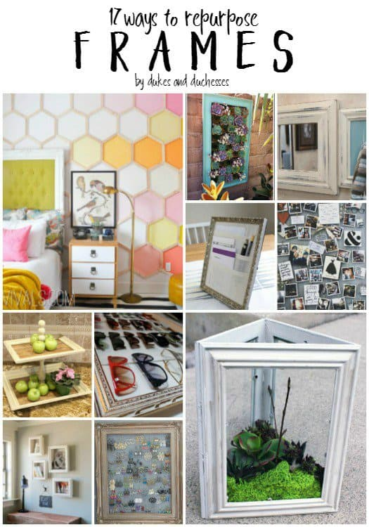 17 Upcycled Frames - Here are more than 20 DIY Picture Frames for you to make. You can use plain wooden frames from the craft store or you can upcycle and old frame.