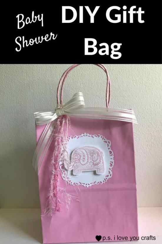 Make a Baby Shower Gift Bag Using scrapbooking paper, rubber stamps, and other card making supplies. This little pink elephant is so sweet!