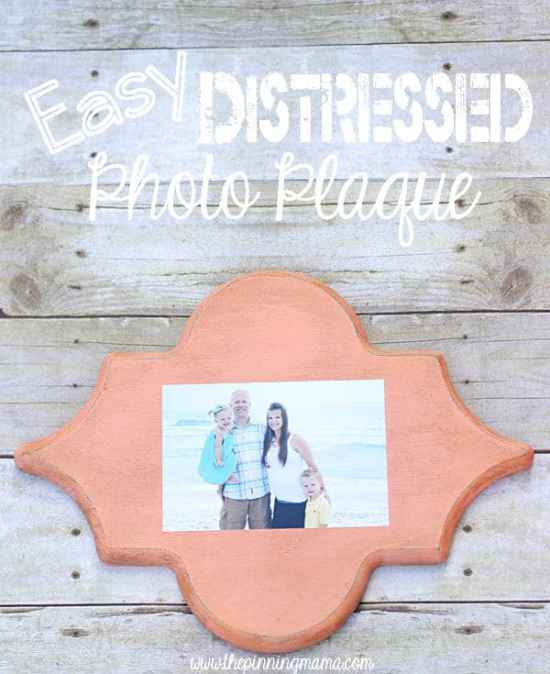 Distressed Photo Plaque - Here are more than 20 DIY Picture Frames for you to make. You can use plain wooden frames from the craft store or you can upcycle and old frame.