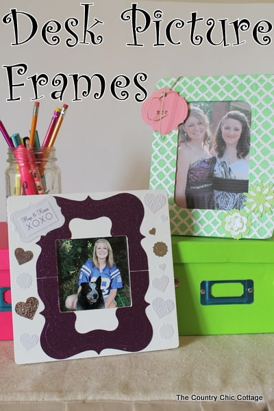 Desk Picture Frames - Here are more than 20 DIY Picture Frames for you to make. You can use plain wooden frames from the craft store or you can upcycle and old frame.