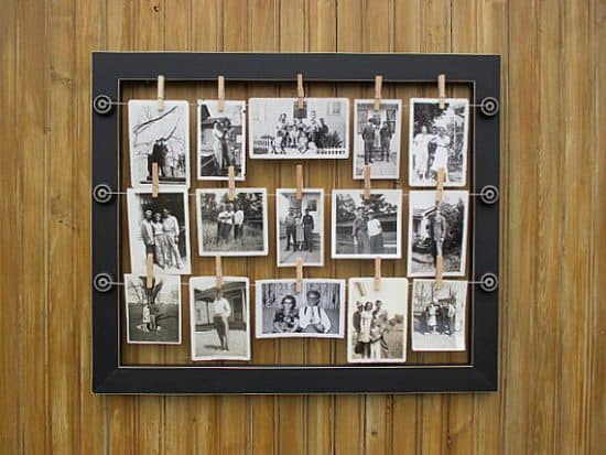 Wire Photo Display using a picture frame - Here are more than 20 DIY Picture Frames for you to make. You can use plain wooden frames from the craft store or you can upcycle and old frame.