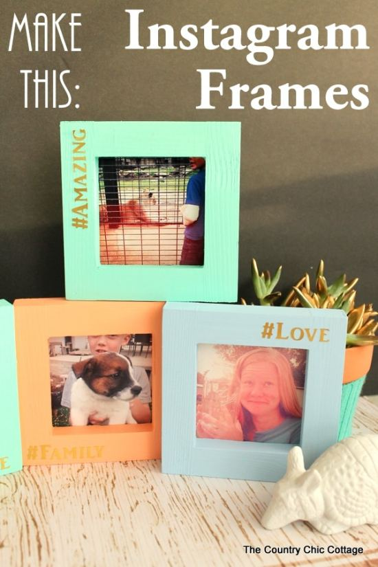 Instagram Frames - Here are more than 20 DIY Picture Frames for you to make. You can use plain wooden frames from the craft store or you can upcycle and old frame.