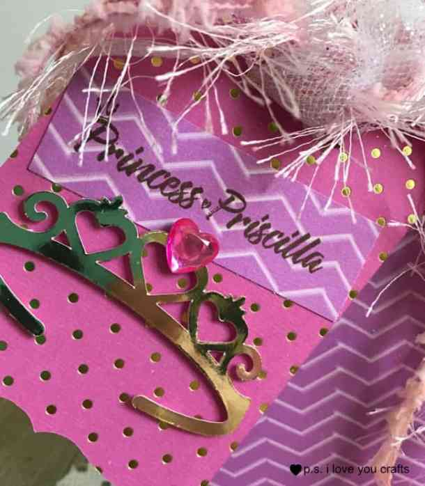 Make Princess Party Favors for a little girl's birthday. I used the Cricut Explore to make this great gift bag with a fancy tiara tag.