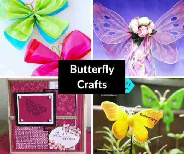 Here are some butterfly craft ideas to try. There are butterfly wings for costumes and pretend play, plant markers, home decor, and party decorations.
