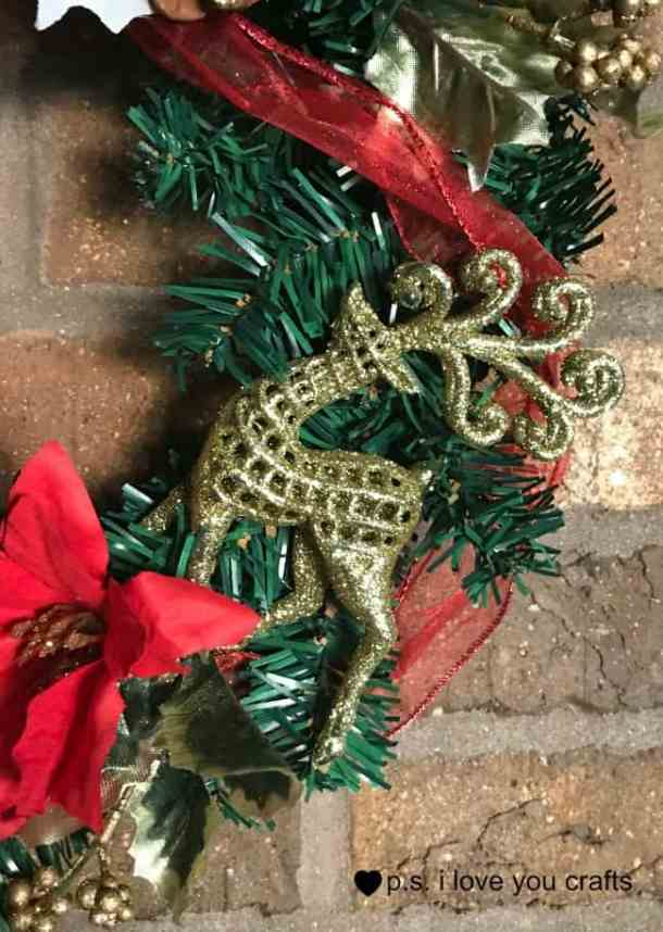 Dollar Tree Christmas Wreath - Make a stunning Christmas Wreath using Christmas decorations from Dollar Tree. No one will ever guess that the ornaments and flowers came from the Dollar Store!