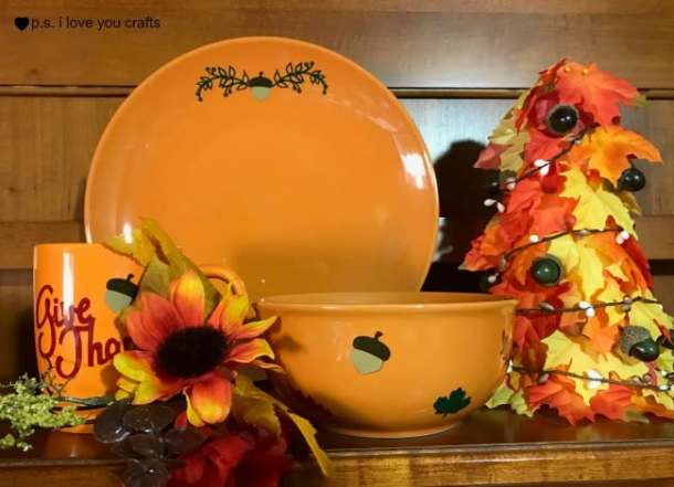 Make a beautiful set of DIY Fall Dishes with Expressions Vinyl and the Cricut Explore or Cricut Maker Machine. The mug, bowl, and plate are perfect for your Thanksgiving table or for fall home decor. #expressionsvinyl #cricut #cricutmaker