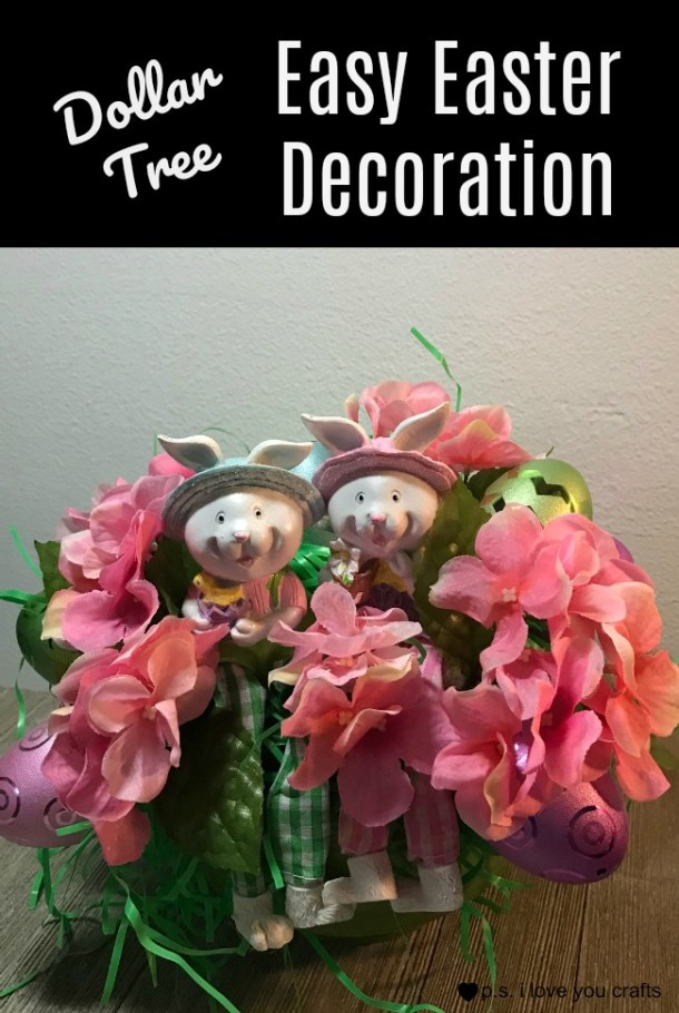 Make an Easy Easter Decoration using supplies from the Dollar Tree. This Easter Craft will go together quickly and will only cost $7.00 to make. #dollartree #eastercraft #easter