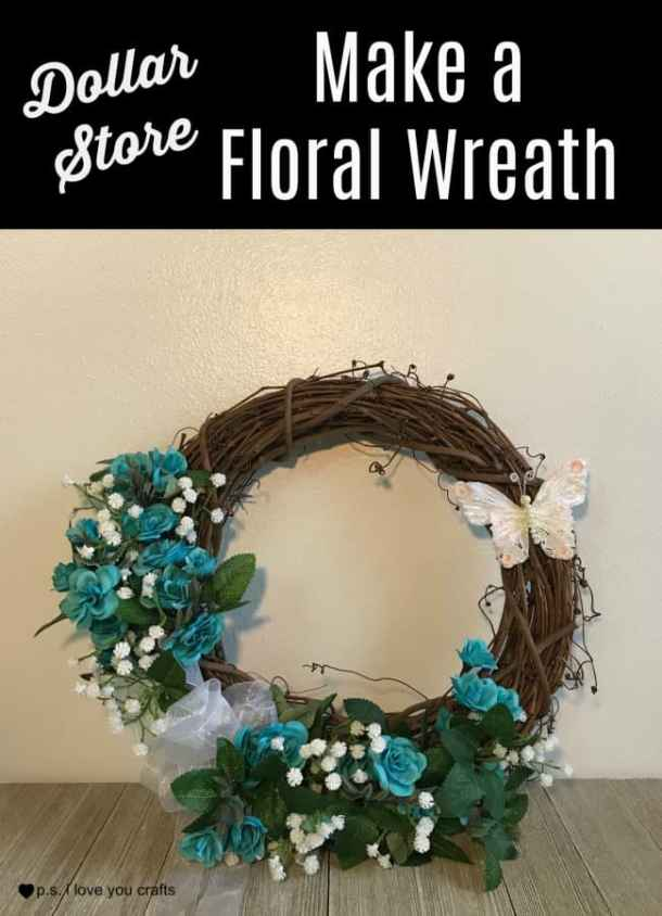 Make a pretty DIY Wreath using a Grapevine wreath and supplies from the Dollar Store. #diywreath #wreath #dollarstore