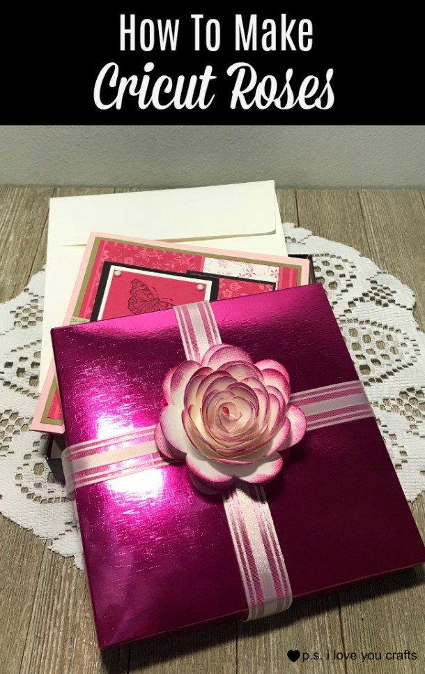 Learn how to make Cricut Roses using the Cricut Maker or Cricut Explore Machines. You can also use the Cricut Expression if you have the Flower Shoppe and Create A Critter Cartridges. #cricutmaker #cricut #paperflowers #cricutexplore