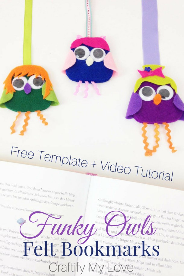 Summer Activity for a Rainy Day! Funky Owls Dress-Up Party. Get your free mix & match template for this fun kids craft today! #craftifymylove #kidscraft #rainydayactivity #DIYbookmark #owlcraft #feltcraft