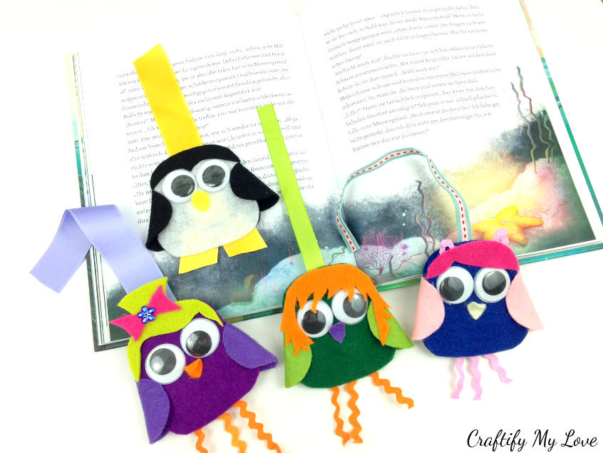 Penguin Owl Felt Bookmark As An Creative Outlet For Kids And