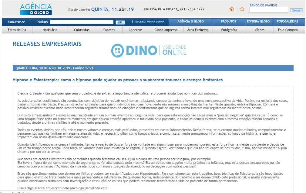 Hipnose e Psicoterapia no jornal O Globo