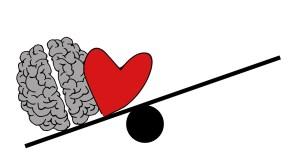 Dibujo de un cerebro y un corazón en un peso, desequilibrado hacia el cerebro