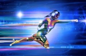 Dibujo de un superhéroe corriendo
