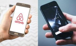 Foto de dos móviles con Airbnb y Uber