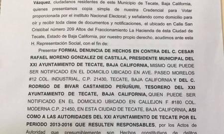Denuncia ex alcalde Tecate