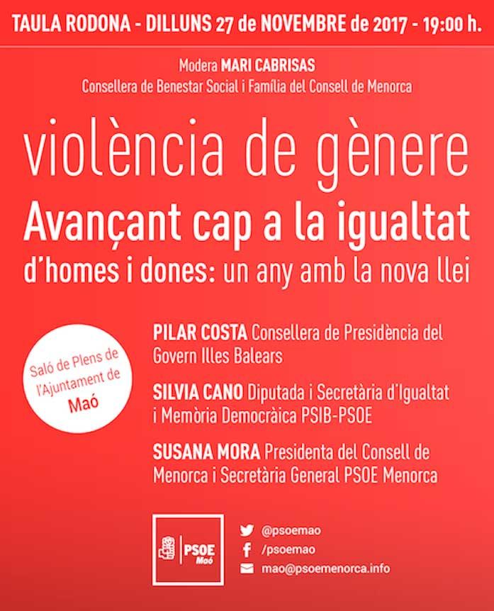 Taula Rodona PSOE Maó sobre Violència de Gènere