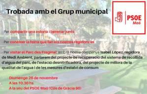 Trobades amb el Grup Municipal PSOE Maó Isabel López Regidora de Medi Ambient