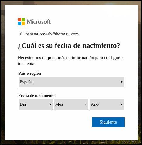 Fecha de nacimiento y país Hotmail