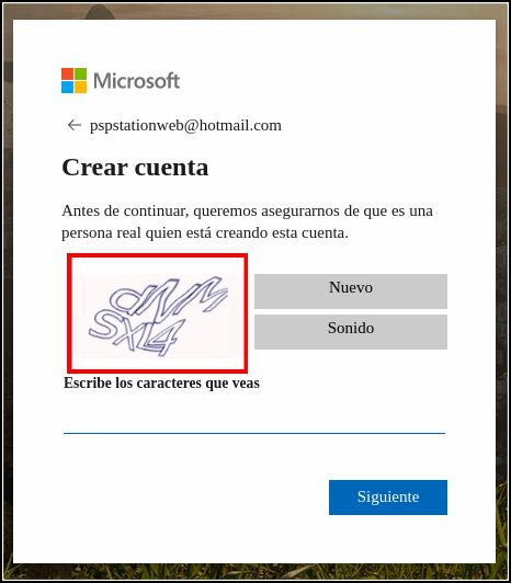 introducir captcha Hotmail