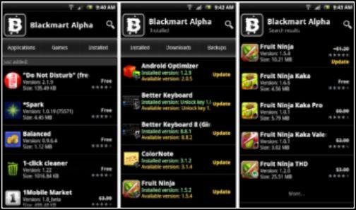 menú de BlackMart