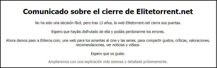 comunicado Elitetorrent