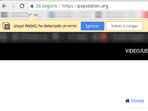 vaya webgl ha detectado un error