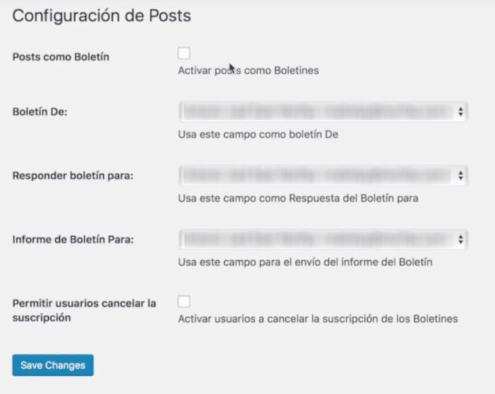 configuración de posts