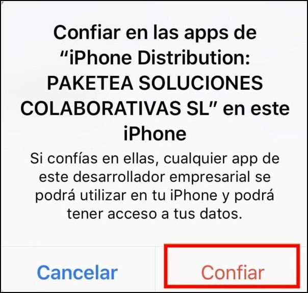 Confiar en Megadede iOS