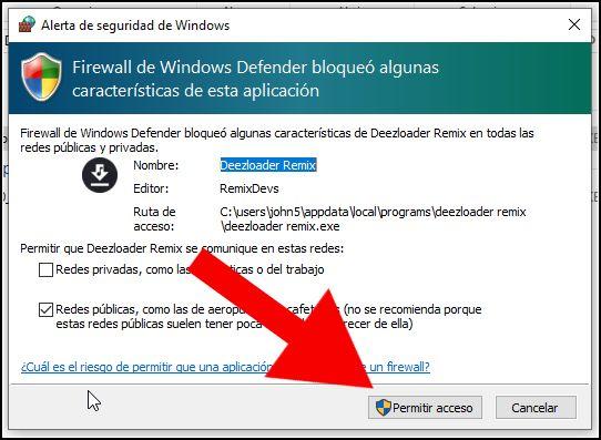 Permitir acceso Firewall a Deezloader Remix
