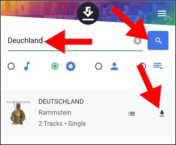 Buscar y descargar en Deezloader Android