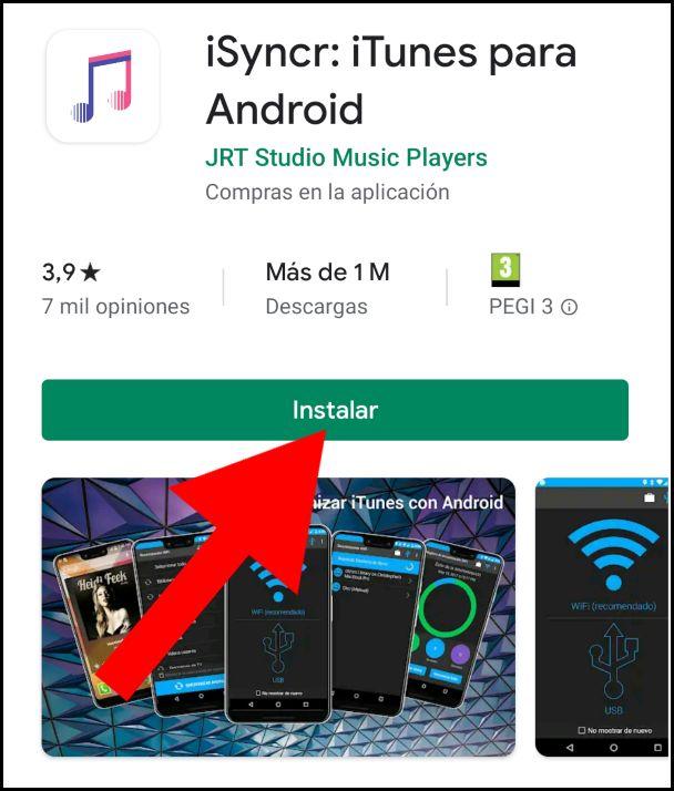 instalar iSyncr: iTunes en Android