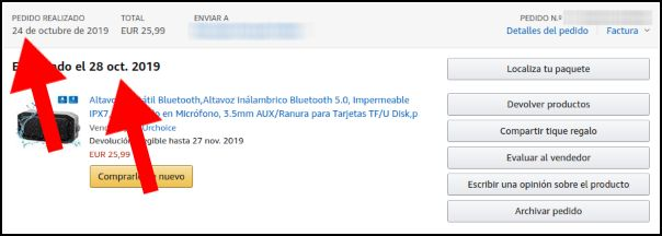 pedido de Amazon, altavoz bluetooth
