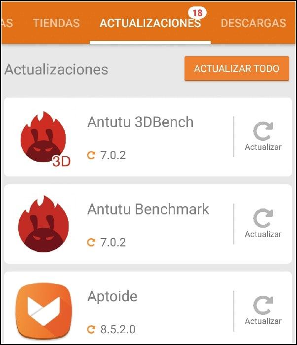 actualizaciones Aptoide