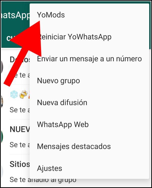 acceso a ajustes de YoWhatsApp