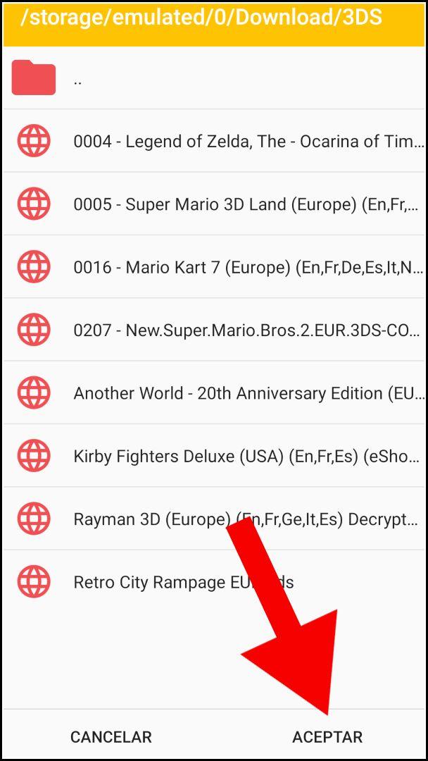 ruta juegos Citra Android