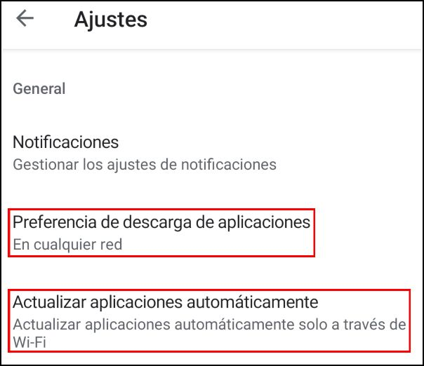 Modificar ajustes de descarga en Play Store