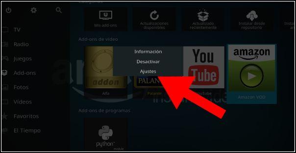 ajustes Amazon VOD
