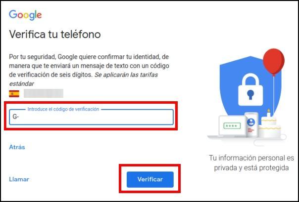 verificar teléfono Gmail