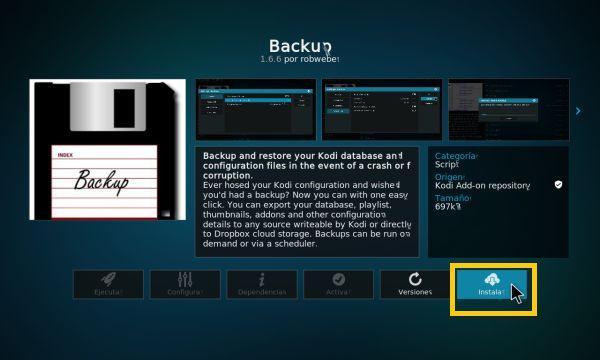 Bajar de versión en Kodi (backup addon 3)