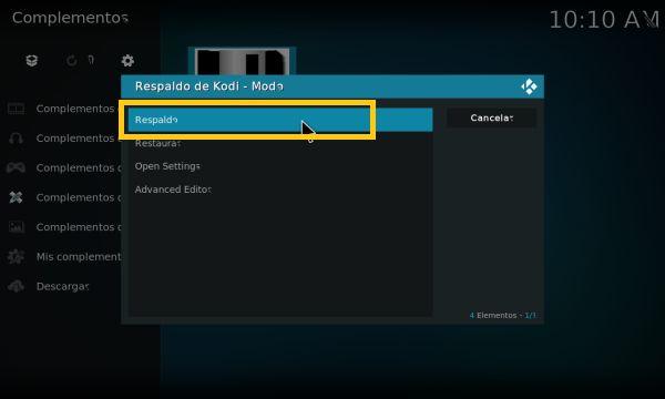Bajar de versión en Kodi (backup addon 4)