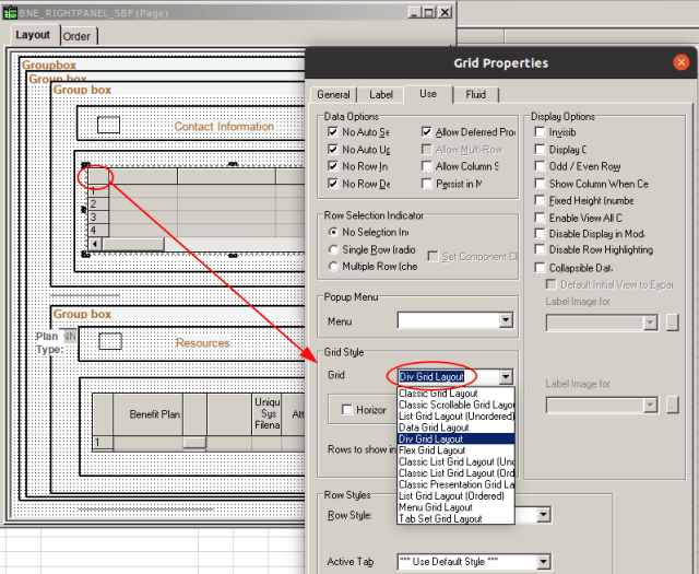 Grid Style setting screenshot
