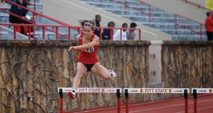 Women's track and field competes in home competition