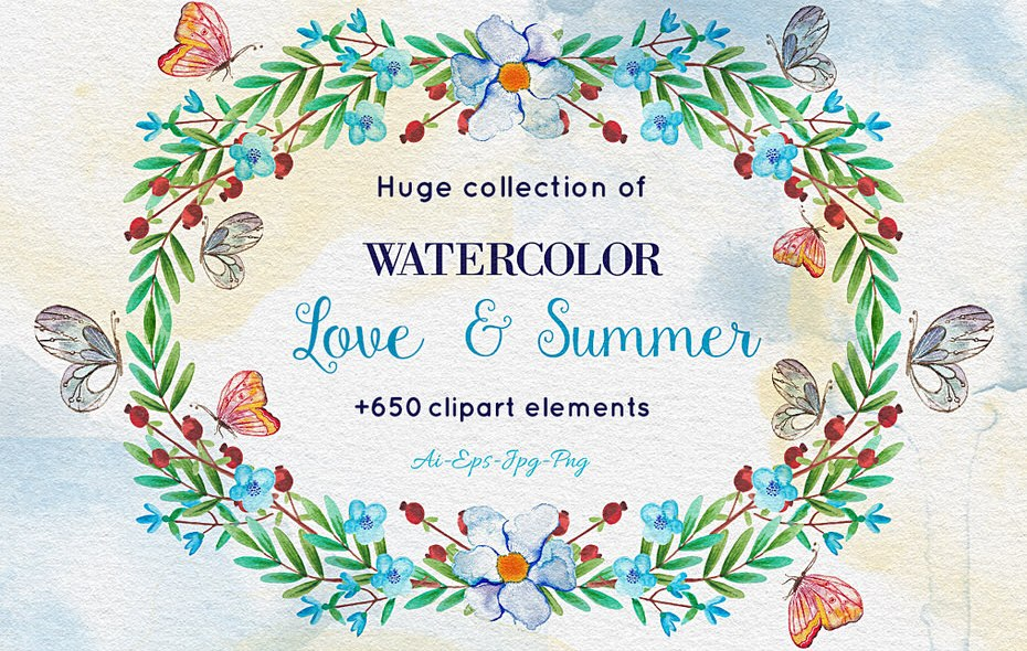 Download 650+ Watercolor Clip-Art Elements in Ai, EPS, PNG, JPG