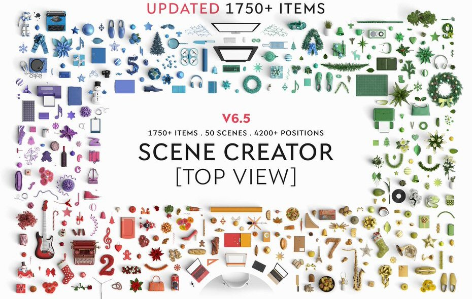 Fantastic Mock Up Scene Creator with 1750+ Items To Choose From