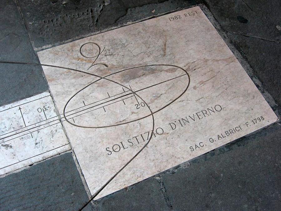 Kalendarz słoneczny wbudowany w posadzkę placu