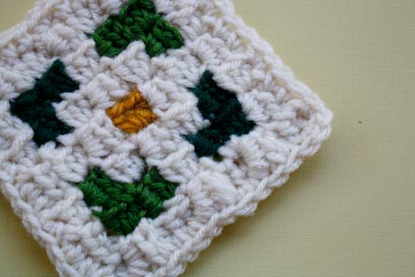 Small corner to corner crochet square.