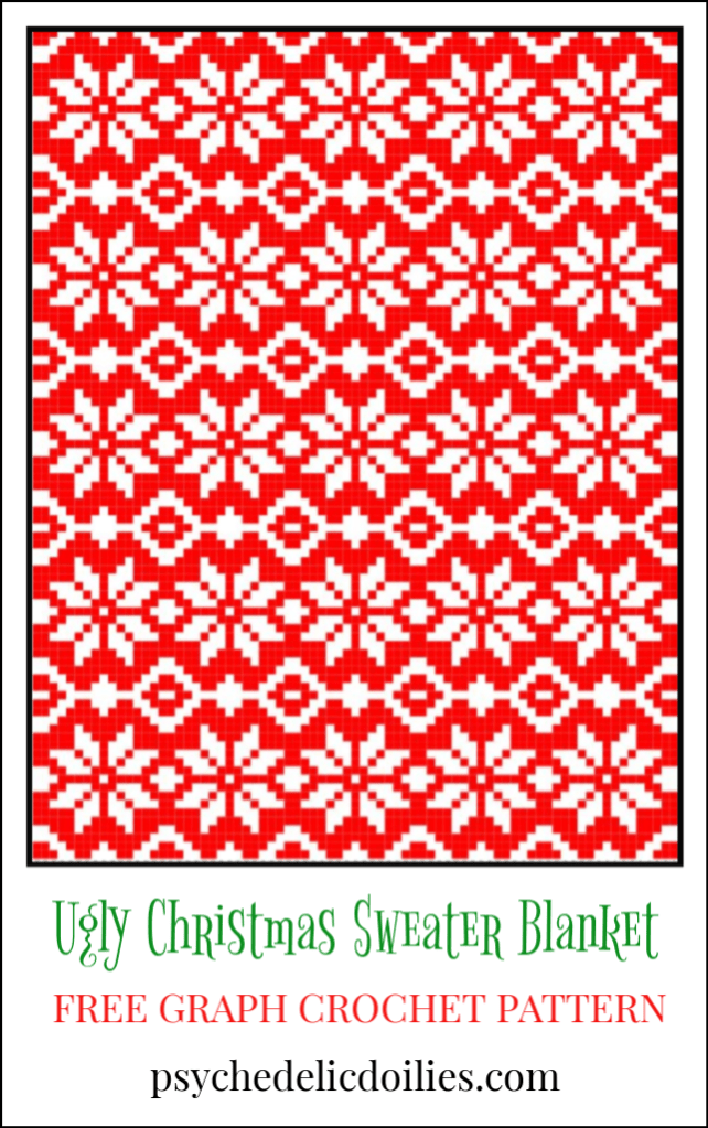 Ugly Christmas Blanket Crochet Pattern Psychedelic Doilies